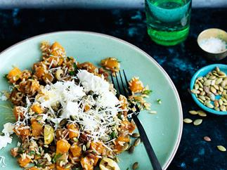 Pumpkin with brown rice and toasted seeds