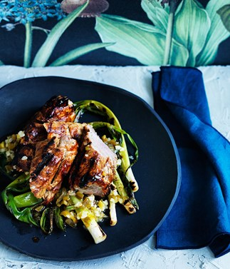 Grilled sticky pork fillet with jalapeño and lime salsa