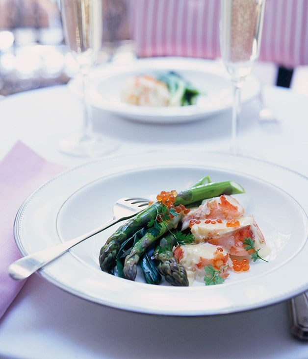**Champagne-poached lobster with asparagus and baby leeks**