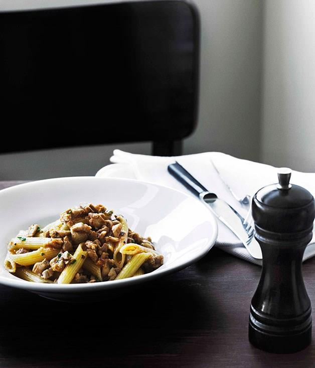 """**[Penne with rabbit ragù](https://www.gourmettraveller.com.au/recipes/chefs-recipes/penne-with-rabbit-ragu-7544