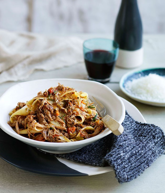 "**[Pappardelle with duck ragù](https://www.gourmettraveller.com.au/recipes/chefs-recipes/pappardelle-with-duck-ragu-9130|target=""_blank"")**"