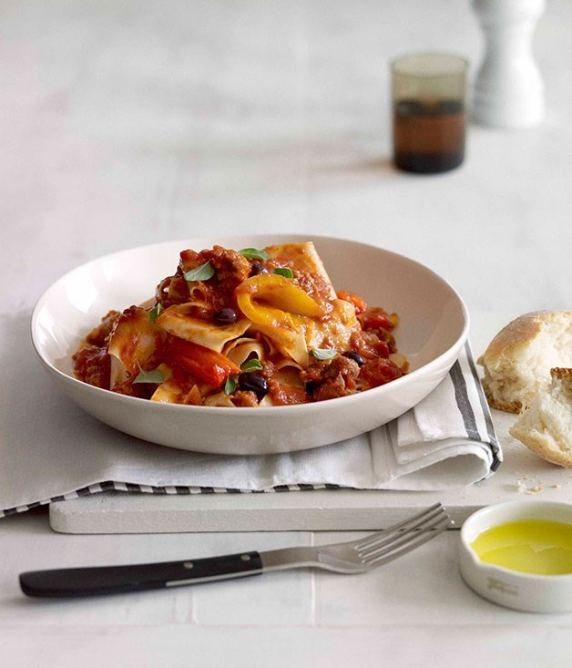 "**[Pappardelle with salsiccia, roast pepper ragù and wild olives](https://www.gourmettraveller.com.au/recipes/chefs-recipes/pappardelle-with-salsiccia-roast-pepper-ragu-and-wild-olives-7429|target=""_blank"")**"