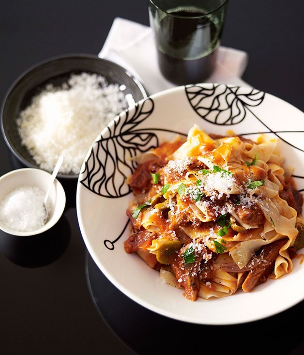 "**[Pappardelle with braised goat ragù](https://www.gourmettraveller.com.au/recipes/chefs-recipes/pappardelle-with-braised-goat-ragu-8875|target=""_blank"")**"