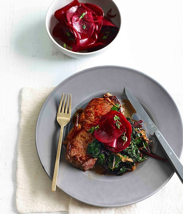 **Steak with kale and quick-pickled beetroot**