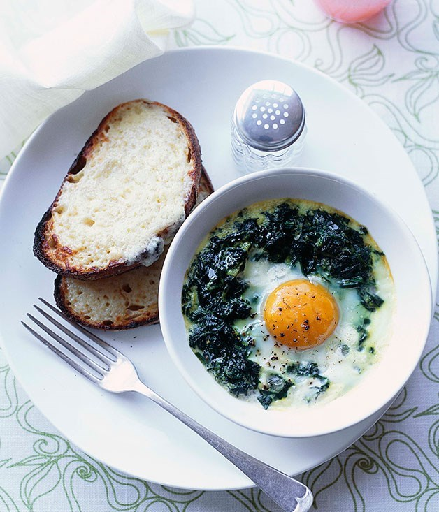 **Baked eggs with creamed spinach and Gruyère toasts**