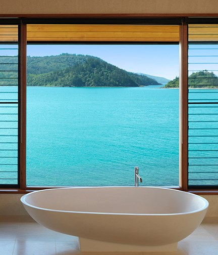 **Qualia, Hamilton Island, QLD** Immersed in the tropical bushlands and azure waters of Hamilton Island, Qualia offers light-filled pavilions with serene privacy. The stone and glass baths are complemented by a eucalyptus-scented sea breeze that permeates from the surrounding rainforest.  _Qualia, Hamilton Island, Mackay, QLD,_ [qualia.com.au](/qualia.com.au)