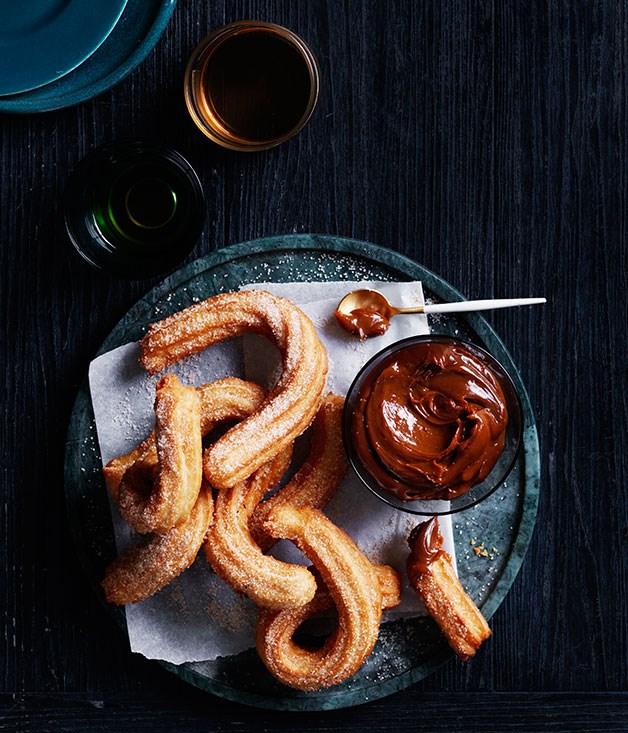 "**[Churros with dulce de leche](http://www.gourmettraveller.com.au/recipes/browse-all/churros-with-dulce-de-leche-12549|target=""_blank"")**"