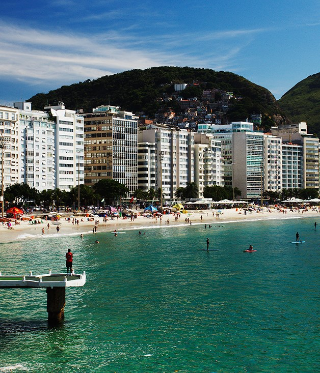 **Copacabana skyline** Buildings line the waterfront along Rio's fabled Copacabana Beach.