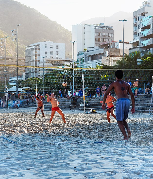 **Volleyball on Ipanema beach** A game of volleyball underway on Rio's Ipanema beach.