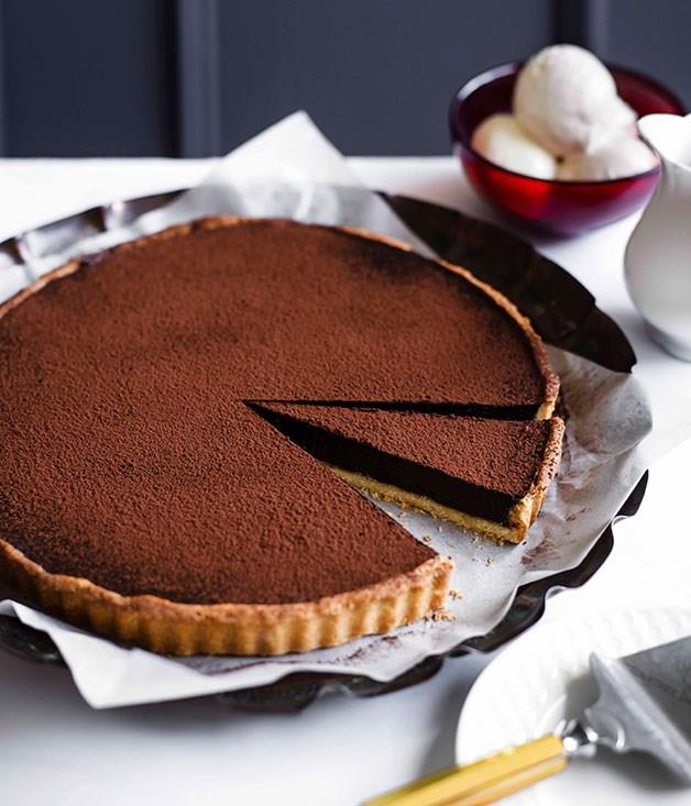 "**[Chocolate tart](https://www.gourmettraveller.com.au/recipes/chefs-recipes/chocolate-tart-9082|target=""_blank"")**"