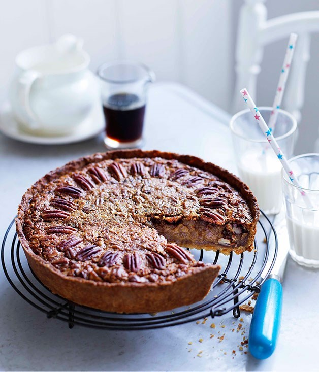 "**[Pecan and maple pie](https://www.gourmettraveller.com.au/recipes/browse-all/pecan-and-maple-pie-10992|target=""_blank"")**"