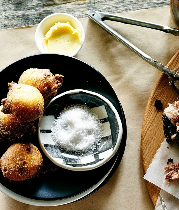 "**[Hush puppies with maple butter](https://www.gourmettraveller.com.au/recipes/chefs-recipes/hush-puppies-with-maple-butter-8118|target=""_blank"")**"