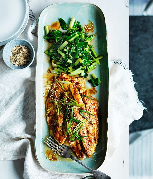 **Miso roast mulloway with sesame and sautéed greens**