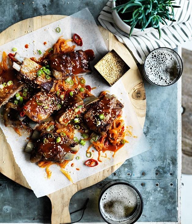 **Barbecued lamb ribs with yuzu-sesame yakiniku sauce**