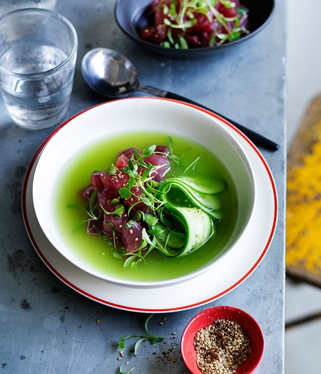 **Chilled cucumber-ginger soup with raw tuna**