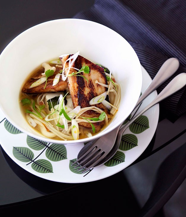 **Miso-caramelised kingfish with soba noodles, miso broth and enoki mushrooms**