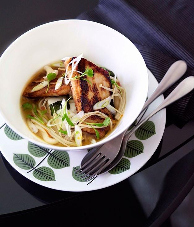 **Miso-caramelised kingfish with soba noodles, miso broth and enoki mushrooms**