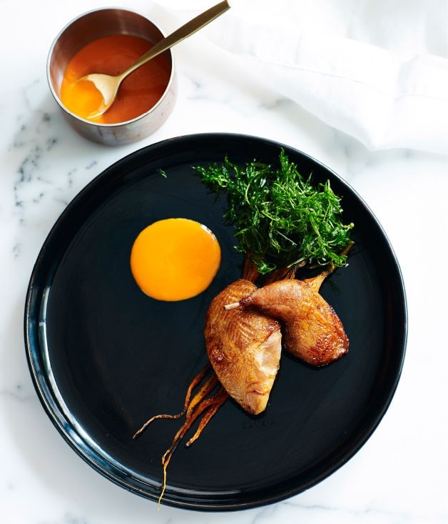**Redgate Farm quail with carrots and miso**