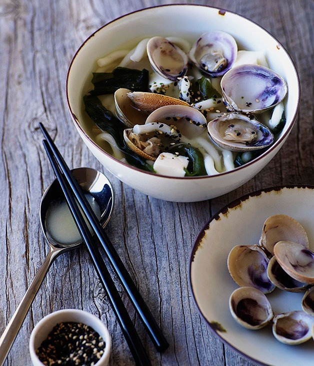 **Miso clams with udon**