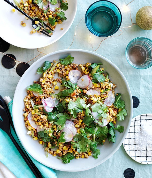 **Toasted corn and spelt with miso dressing**