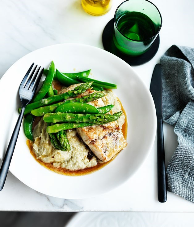 **Pan-fried barramundi with eggplant and miso purée**