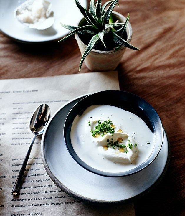 **Korean miso soup with oyster cream (doenjang guk)**