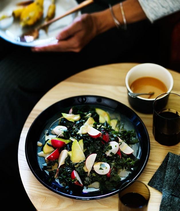 **Radish, pear and seaweed salad with miso dressing**