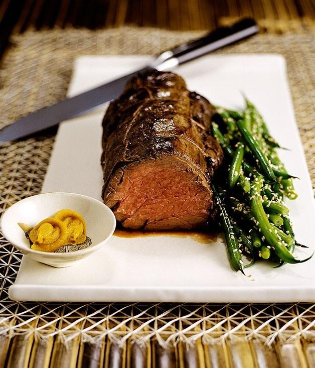 **Japanese mustard-miso roasted beef fillet**