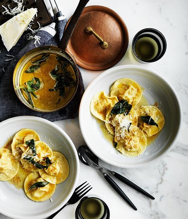 "[**Pumpkin ravioli with sage**](https://www.gourmettraveller.com.au/recipes/browse-all/pumpkin-ravioli-with-sage-12321|target=""_blank"")"