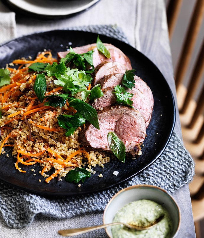 Mini lamb roast with cracked wheat, carrots and green tahini sauce