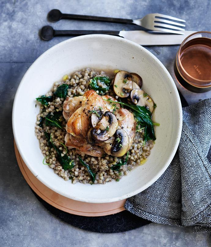 "**[Chicken with buckwheat and mushrooms](http://www.gourmettraveller.com.au/recipes/fast-recipes/chicken-with-buckwheat-and-mushrooms-13745|target=""_blank"")**"
