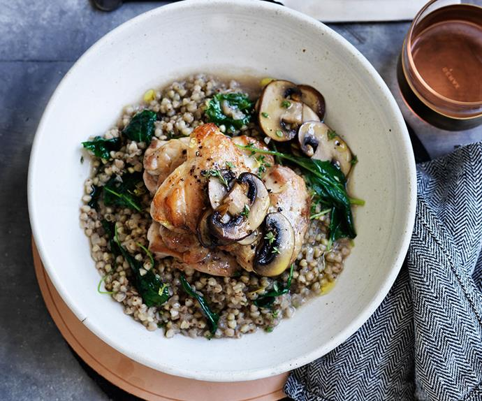 Chicken with buckwheat and mushrooms