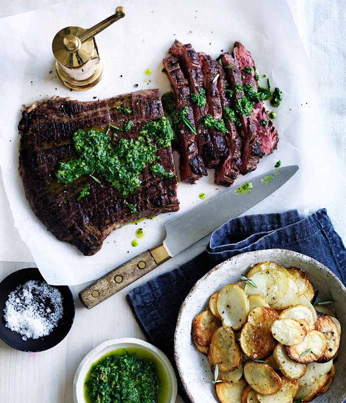 Char-grilled flank steak with crisp potatoes and salsa verde