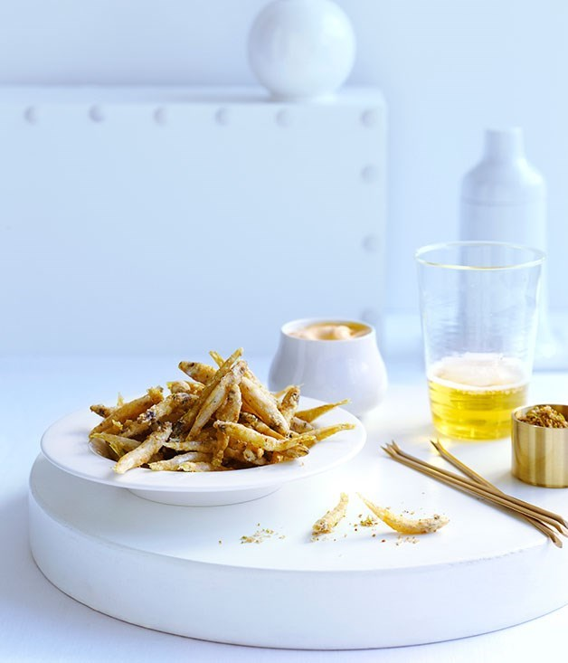 **Fried whitebait with cumin salt and smoky mayonnaise**