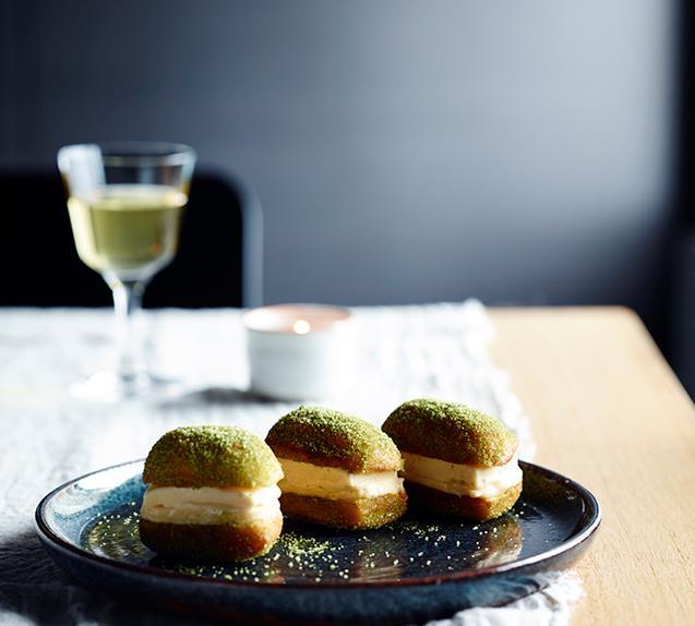 Honey and ginger ice-cream and lemon curd doughnut sandwiches