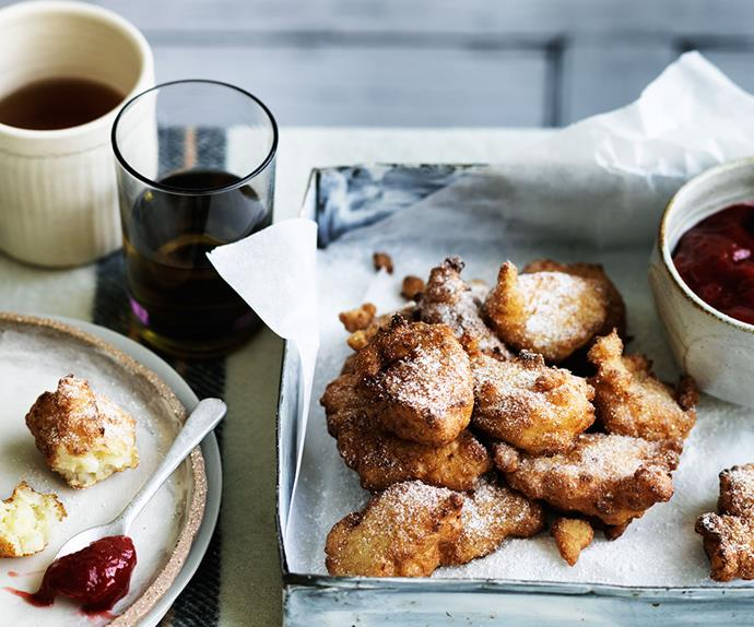 Rice pudding fritters with rhubarb and winter strawberry jam