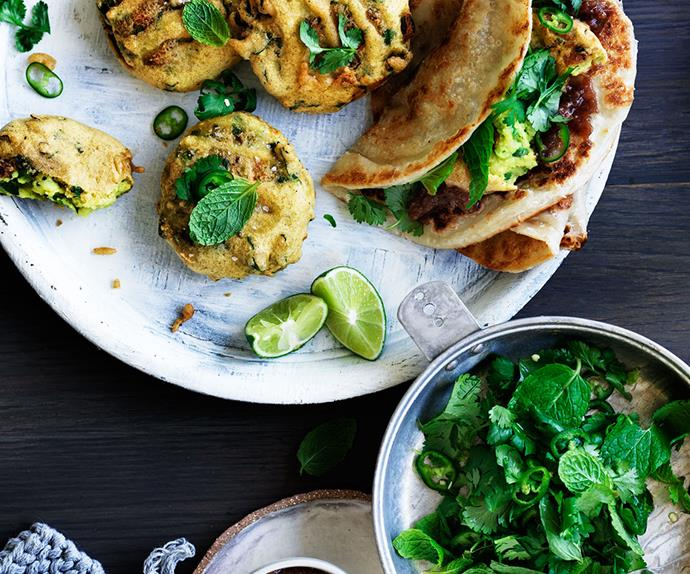 Spiced potato and pea fritters with sweet and sour chutney