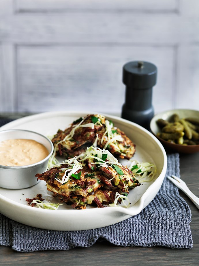 Corned beef and cabbage fritters with Russian-style sauce