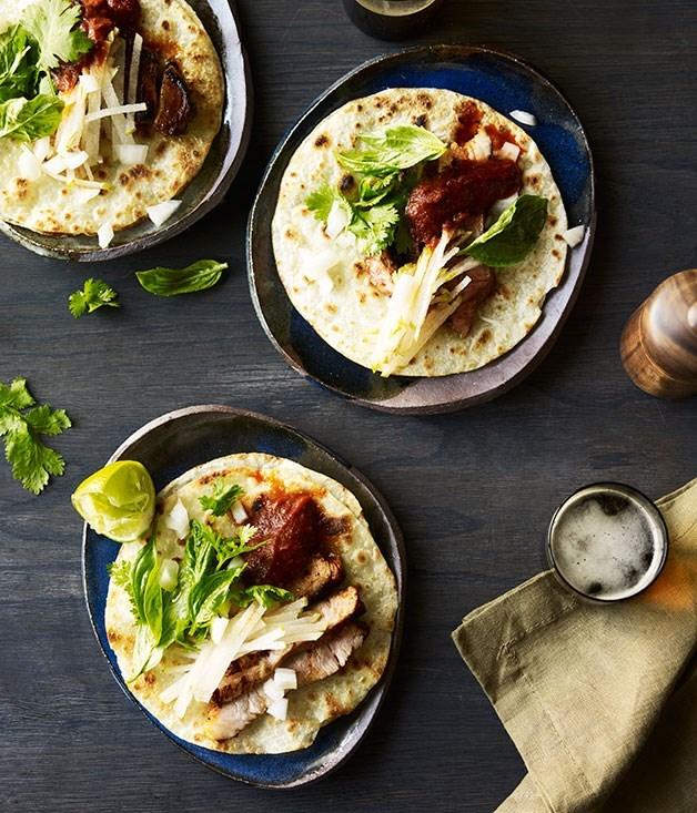 **Ghostboy Cantina's pork tacos with salsa roja and nashi**