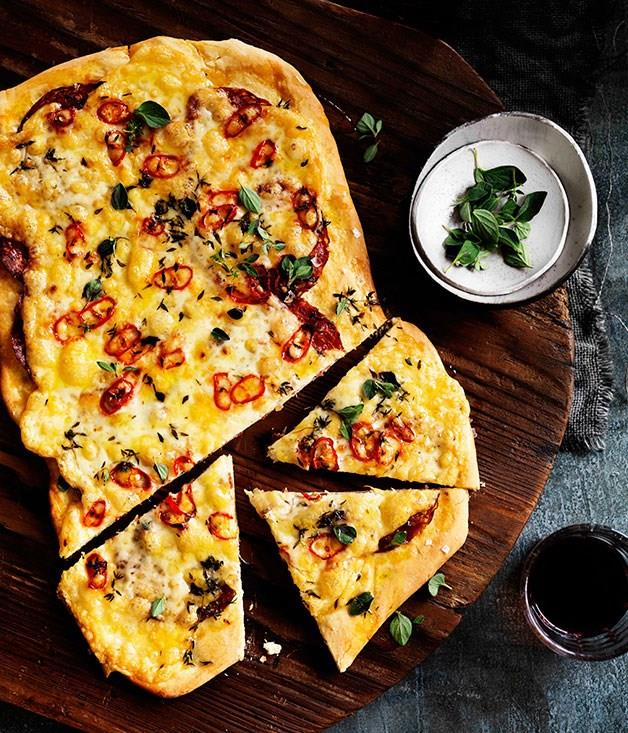 "[**Four-cheese and sopressa pizza with chilli**](https://www.gourmettraveller.com.au/recipes/browse-all/four-cheese-and-sopressa-pizza-with-chilli-11484|target=""_blank"")"