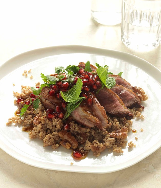 **Cracked wheat and walnut pilaf with duck and pomegranates**