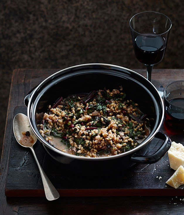 **Barley with beetroot greens**