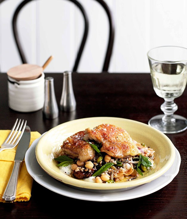 **Twice-cooked chicken with grain salad and pancetta**