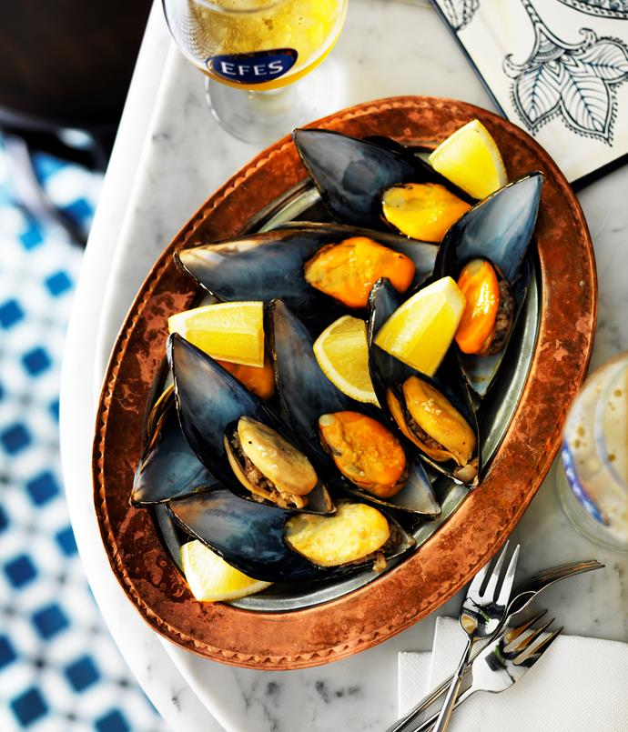 "**[Stanbuli's stuffed mussels (midye dolma)](https://www.gourmettraveller.com.au/recipes/chefs-recipes/stanbuli-stuffed-mussels-8454|target=""_blank"")**"