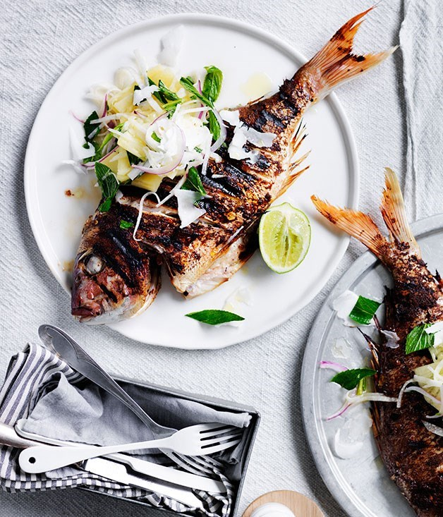 **Jerk snapper with pineapple and lime** Snapper is rubbed in spice, chargrilled and paired with a juicy pineapple-lime salad in this quick recipe.