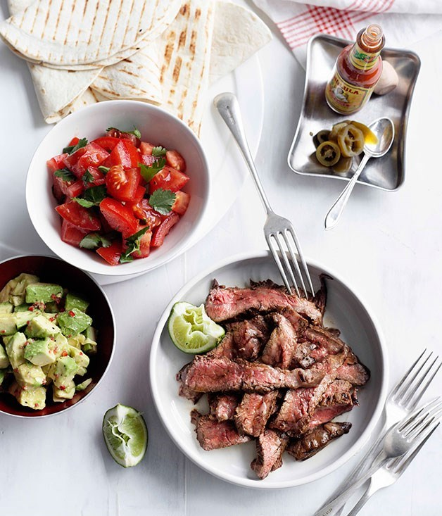 **Lime and chilli skirt steak fajitas** Soft white tortillas, lime-marinaded steak and fresh avocados make this meal quick and tasty.