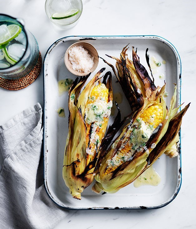 **Grilled corn with whipped sesame butter, lime and coriander** Spice up and old side dish in no time with lime, tahini and herbs.