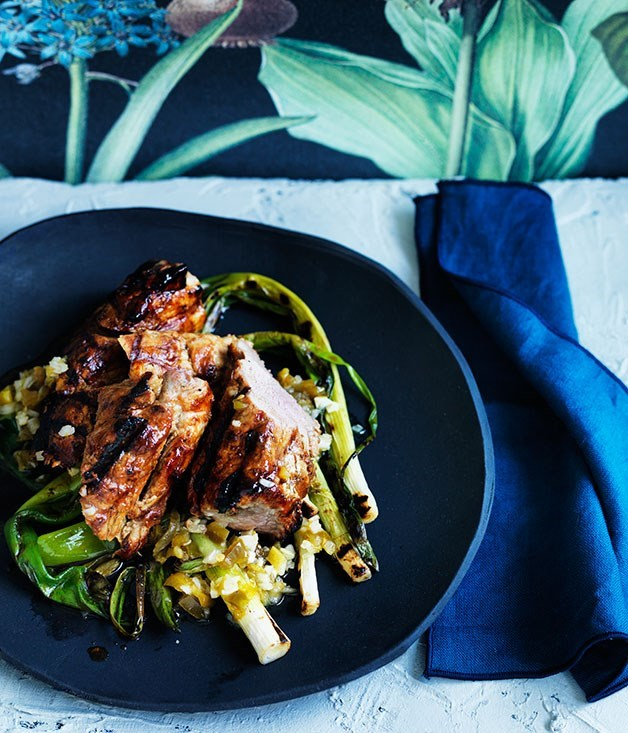 **Grilled sticky pork fillet with jalapeño and lime salsa** Test out this spicy lime salsa to accompany sweet glazed pork.