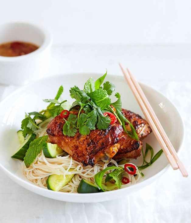 **Lime leaf chicken with rice noodles and cucumber** The flavour from torn kaffir lime leaves can be intense and add extra zing to any lime dish.