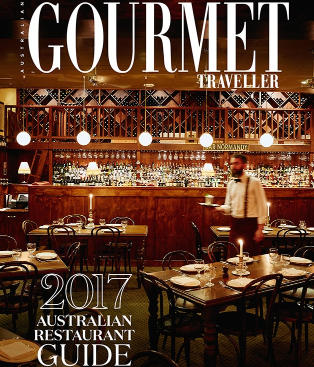 **2017 Gourmet Traveller Restaurant Guide** Pick up the September issue of _GT_ now for more on our award winners and for your own copy of the _2017 Gourmet Traveller Australian Restaurant Guide_, sponsored by Vittoria Coffee and Santa Vittoria, on sale now.